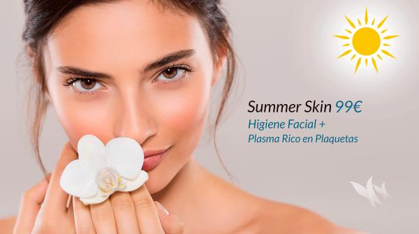 Summer Skin 99€. Higiene facial + Plasma Rico en Plaquetas