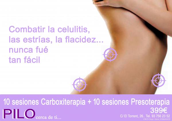 10 sesiones Carboxiterapia + 10 sesiones Presoterapia 399€