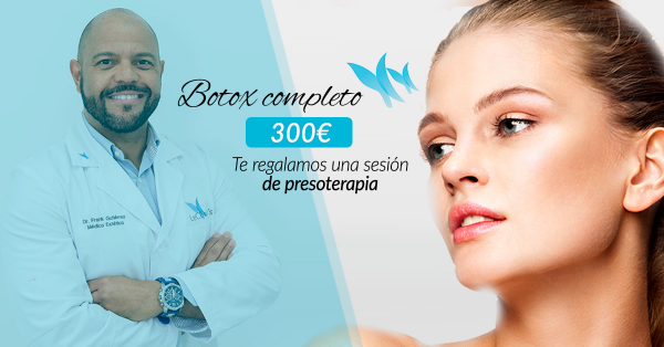 Botox completo 300€ + Regalo de sesión de presoterapia  en TodoEstetica.com