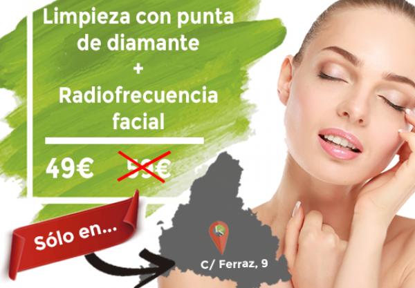49 € Limpieza punta de diamante + Radiofrecuencia facial