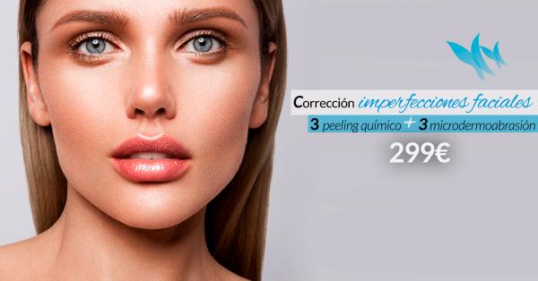 Corrección imperfecciones faciales: 3 sesiones de Peeling Químico + 3 sesiones de Microdermoabrasión con Punta de Diamante - 299€  en TodoEstetica.com