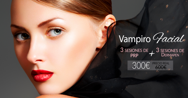 Vampiro Facial: 3 sesiones de Dermapen + 3 sesiones de PRP 300€ (antes 600€)