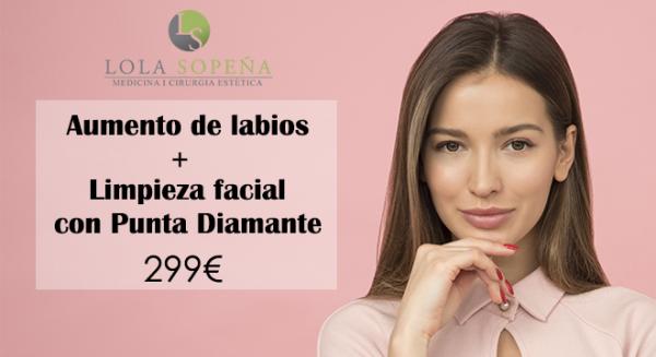 Aumento de labios + Limpieza facial con punta de diamante por 299€