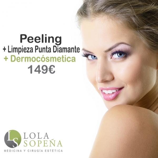 Peeling médico + Dermocosmética + Limpieza punta diamante 149€