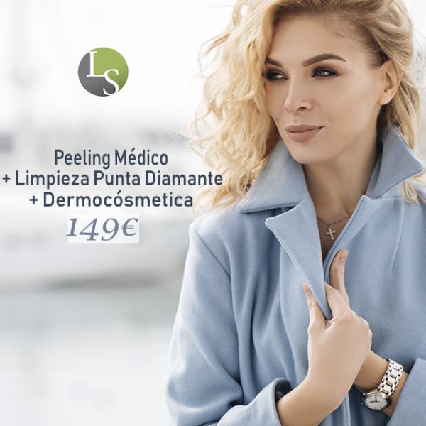 Peeling + Limpieza punta diamante + Democósmetica