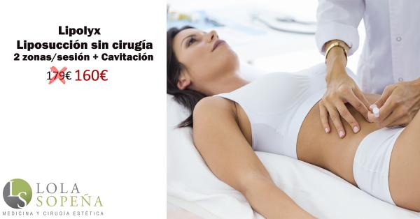 Lipolyx (Liposucción sin cirugía) 2 zonas/sesión + Cavitación 160€