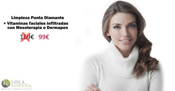 Limpieza facial punta diamante + Vitaminas infiltradas 99€