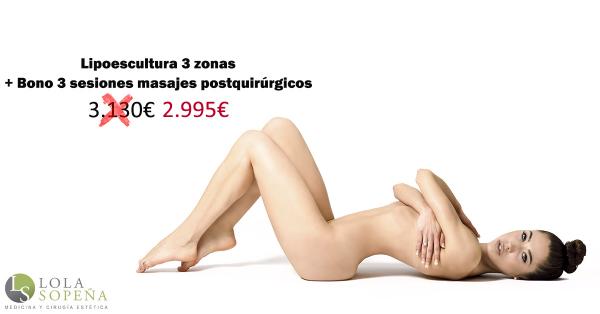 Lipoescultura (3 zonas) + Regalo Bono 3 masajes postquirúrgicos 2.995€