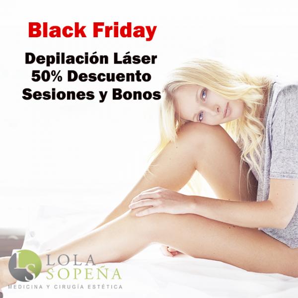 Black Friday Depilación Láser hasta 50% Descuento en sesiones sueltas, packs y bonos indefinidos