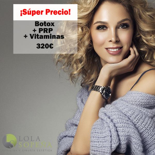 Botox entrecejo, patas gallo y frente + PRP + Vitaminas 320€