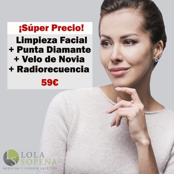 Limpieza Facial + Punta Diamante + Velo de Novia + Radiofrecuencia 59€