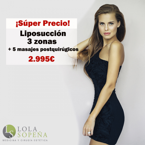 Lipoescultura 3 zonas + Bono 5 masajes postquirúrgicos 2.995€