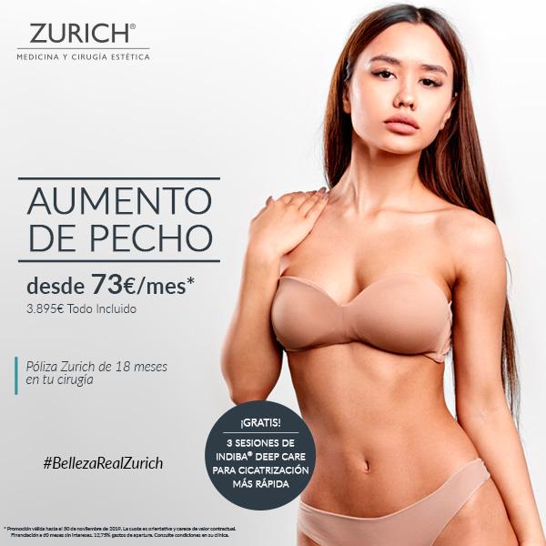 Aumento de pecho con cicatrización más rápida · desde 73€ mes · Solo en Clínicas Zurich
