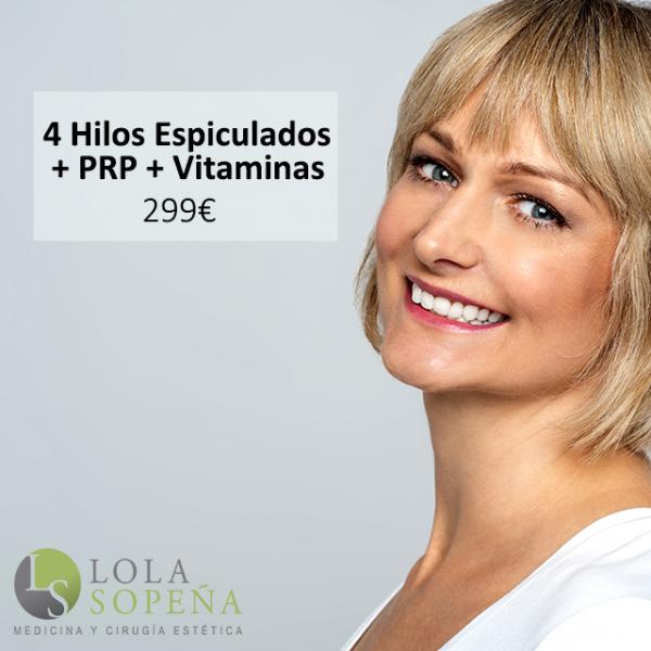 4 Hilos Tensores Espiculados + Vitaplasma (PRP + Vitaminas) 299€