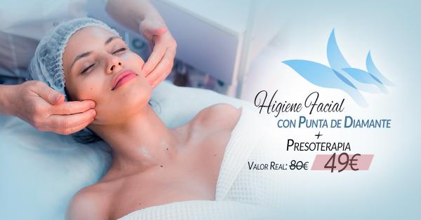 Higiene Facial con punta de diamante + Presoterapia 49€