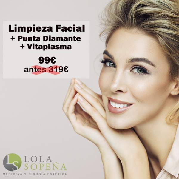 Limpieza facial + Punta Diamante + Vitaplasma 99€