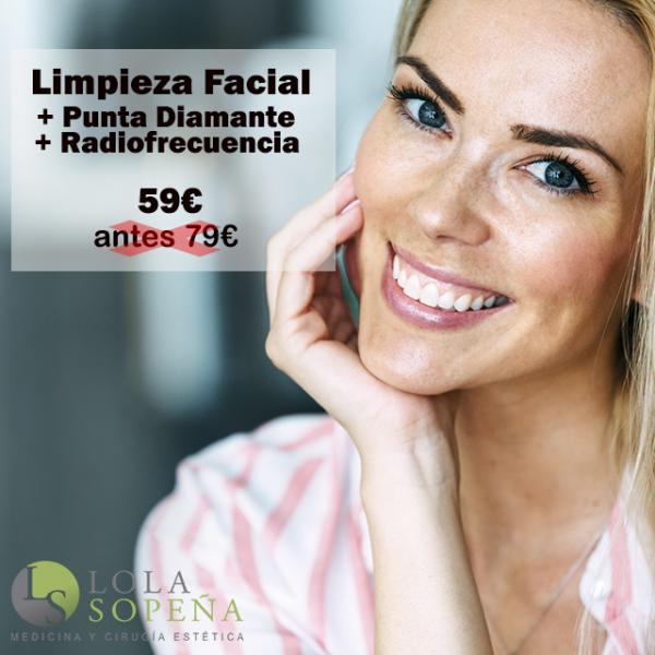 Limpieza facial + Punta Diamante + Radiofrecuencia Facial 59€