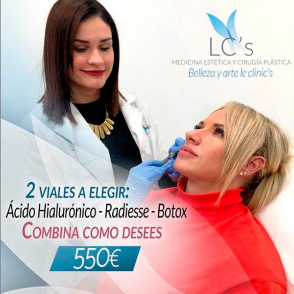 2 viales a elegir: Ácido hialurónico - Botox - Radiesse 550€