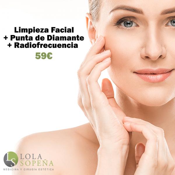 Limpieza facial + Punta de diamante + Radiofrecuencia   59€