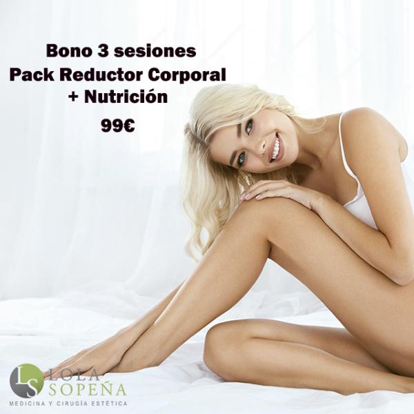 Pack Reductor Corporal Bono 3 sesiones + Sesión con nutrición 99€