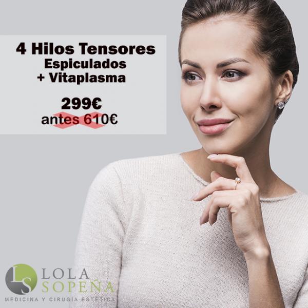 Lifting con 4 hilos tensores espiculados + Vitaminas + PRP 299€  en TodoEstetica.com