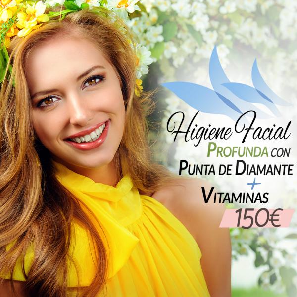 Higiene Facial profunda con punta de diamante + Vitaminas faciales 150€ en TodoEstetica.com