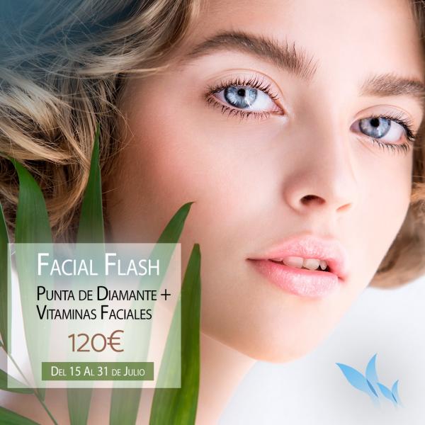 Facial Flash: Punta de diamante + Vitaminas 120€
