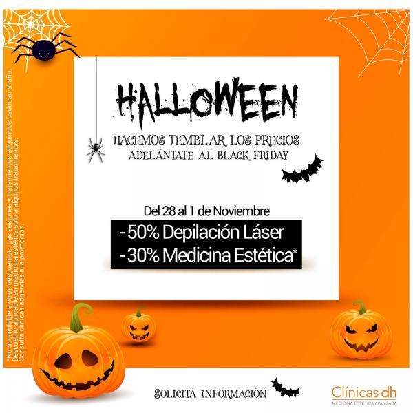 Campaña Halloween 50% de Depilación Médica Láser