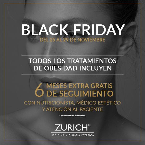 ¡Ya está aquí Black Friday! del 25 al 29 de Noviembre en Clínicas Zurich en TodoEstetica.com