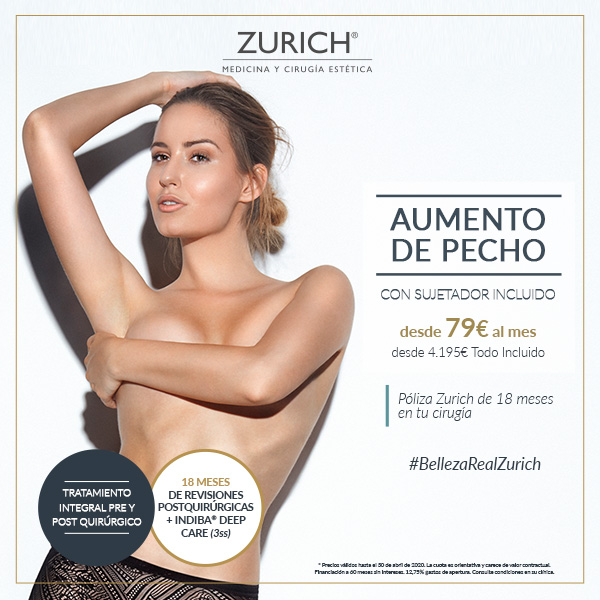 Aumento de pecho con cicatrización más rápida · desde 79€ mes