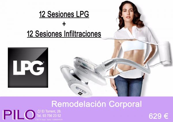 Promo remodelación corporal: 12 Sesiones LPG + 12 Sesiones Infiltraciones: 629€