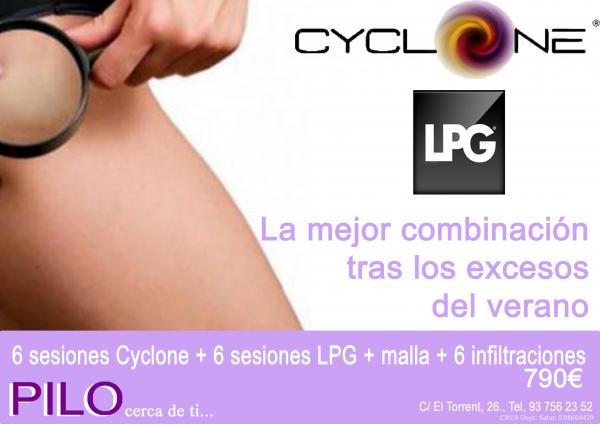 6 sesiones Cyclone + 6 sesiones LPG + malla + 6 infiltraciones 790€