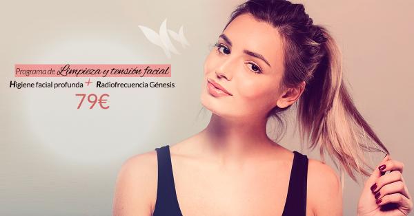 Programa de Limpieza y tensión facial básico: Higiene facial profunda + Radiofrecuencia Génesis - 79€