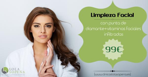 99 €Limpieza facial con punta de diamante mas vitaminas faciales infiltradas en TodoEstetica.com