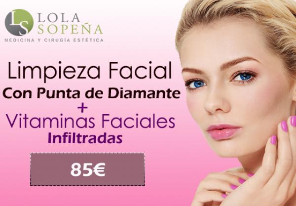 85€ por Limpieza Facial con Punta de Diamante + Vitaminas Faciales Infiltradas en TodoEstetica.com