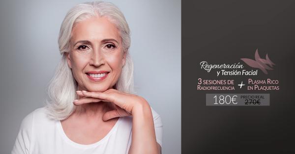 3 Sesiones de Radiofrecuencia facial + Plasma Rico en plaquetas 180€