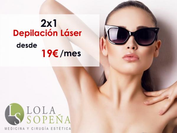 2x1 en depilación láser desde 19€/sesión  en TodoEstetica.com