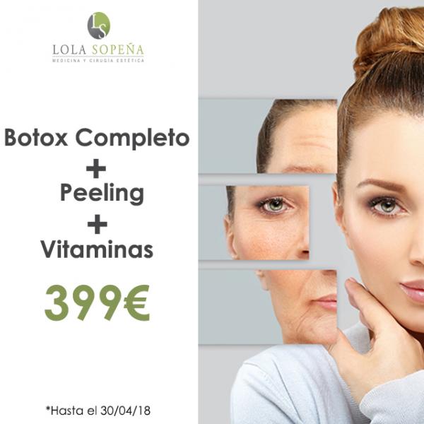 399€ Botox Completo + Peeling + Vitaminas Infiltradas