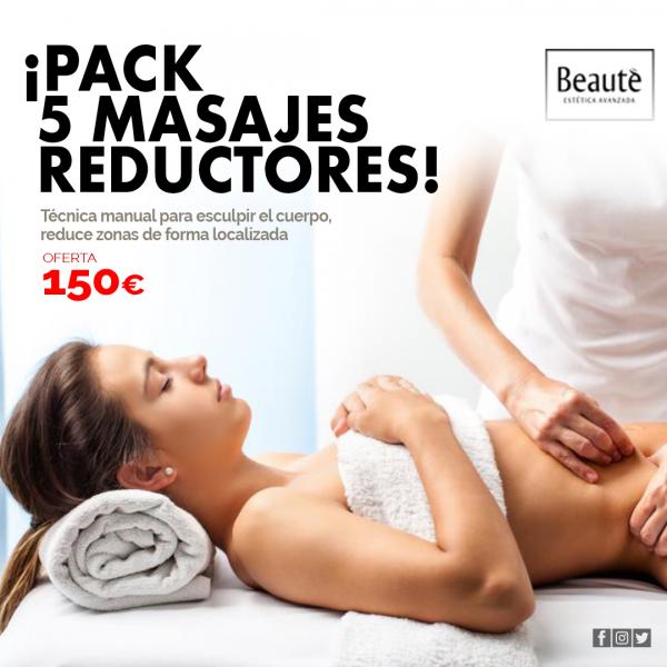 PACK 5 MASAJES REDUCTORES  150€ en TodoEstetica.com