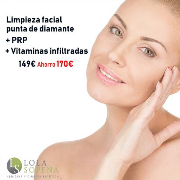 Limpieza facial con punta de diamante + PRP + Vitaminas faciales infiltradas por 149€