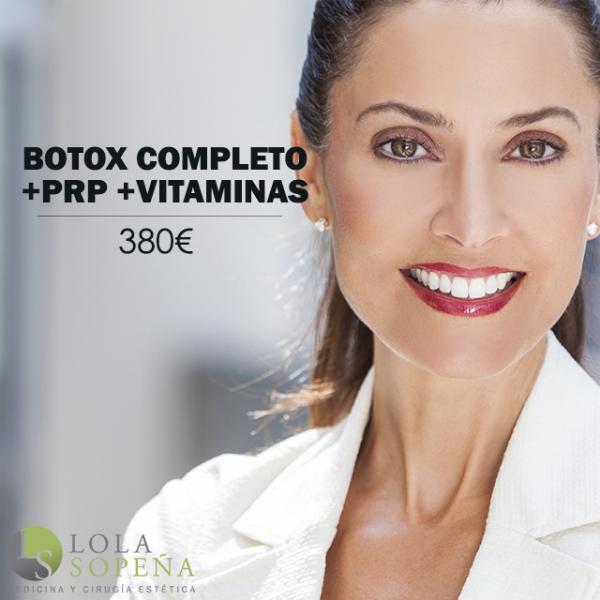 Botox completo + vitaminas faciales infiltradas + PRP 380€