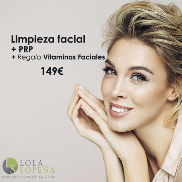 Limpieza facial con punta de diamante + Vitaminas faciales infiltradas + PRP 149€