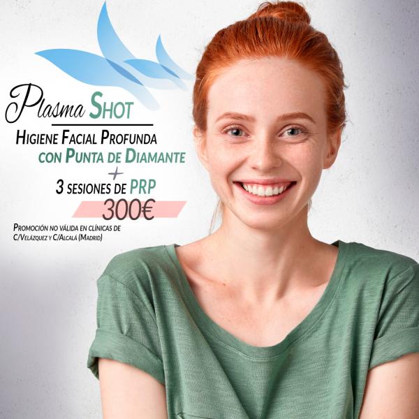 Higiene facial profunda con punta de diamante + 3 sesiones de Plasma Rico en Plaquetas 300€