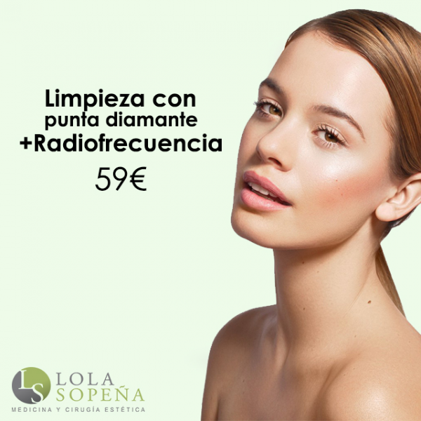 Limpieza facial con punta de diamante + Radiofrecuencia facial 59€