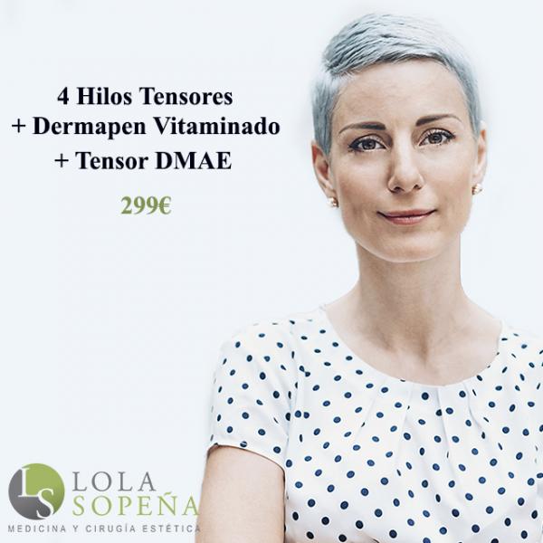 4 Hilos tensores + Dermapen vitaminado + Tensor DMAE 299€